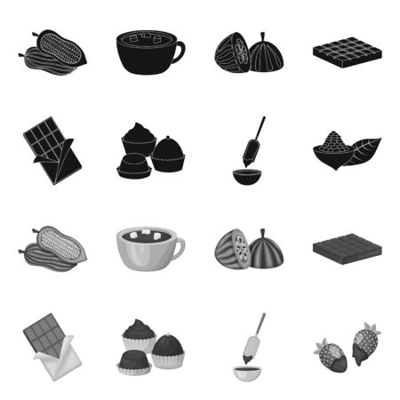 Isolated object of food and yummy sign. Set of food and brown stock symbol for web. Illustration