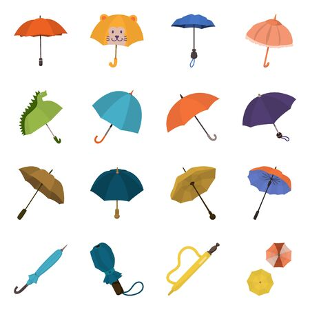 Vector design of umbrella and rain sign. Collection of umbrella and weather vector icon for stock.