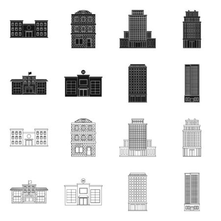 Vector illustration of municipal and center symbol. Collection of municipal and estate stock symbol for web.