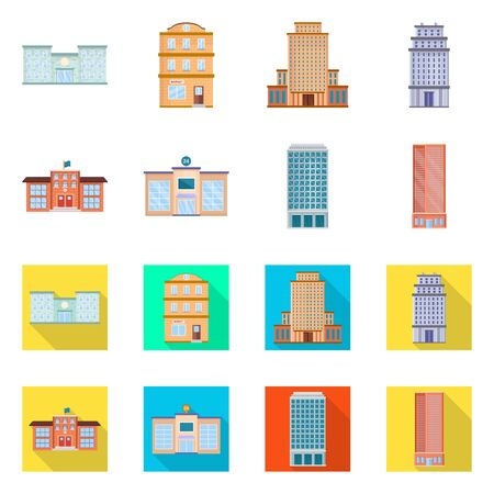 Vector design of municipal and center icon. Collection of municipal and estate stock symbol for web.