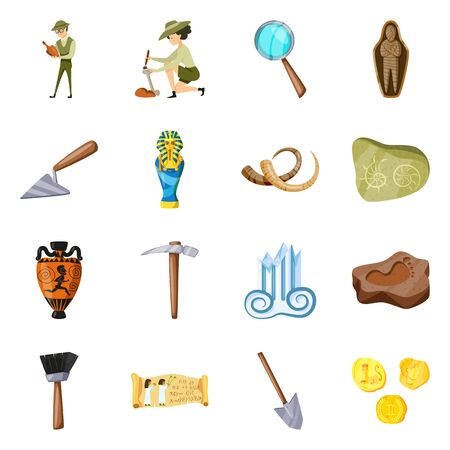 Isolated object of archaeology and historical logo. Set of archaeology and excavation stock symbol for web. Ilustração
