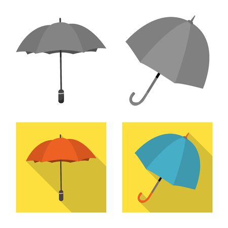 Vector illustration of protection and closed sign. Set of protection and rainy stock symbol for web.
