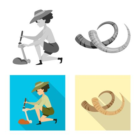 Vector design of story and items symbol. Set of story and attributes stock symbol for web. Иллюстрация