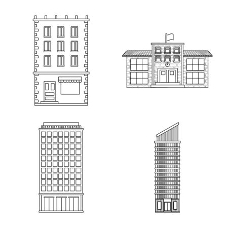 Isolated object of architecture and exterior icon. Collection of architecture and city stock symbol for web. 矢量图像