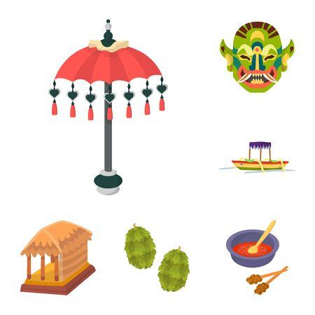 Vector illustration of bali and indonesia logo. Collection of bali and caribbean stock vector illustration. Ilustracja