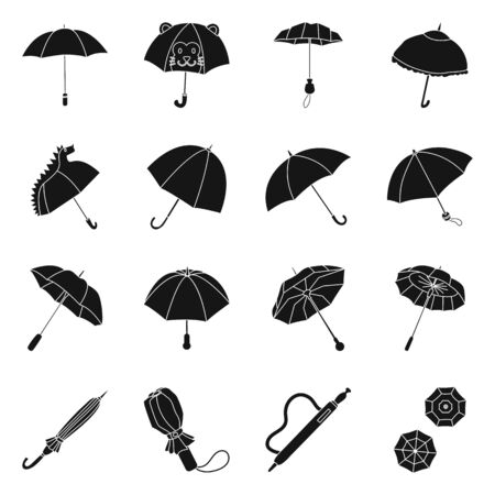 Vector design of weather and rainy logo. Collection of weather and rain stock symbol for web.