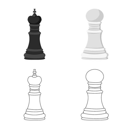 Isolated object of checkmate and thin . Collection of checkmate and target vector icon for stock. 일러스트