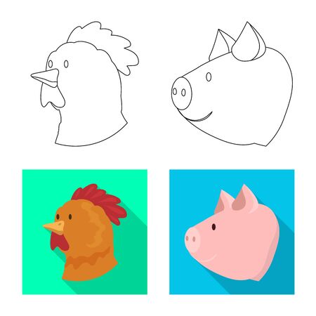 Vector design of agriculture and breeding . Collection of agriculture and organic vector icon for stock. Çizim