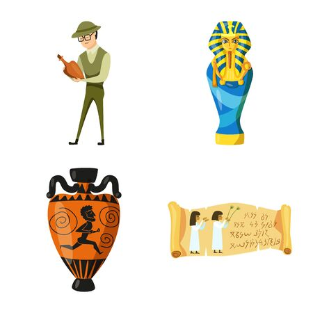 Vector design of archaeology and historical . Set of archaeology and excavation stock vector illustration.