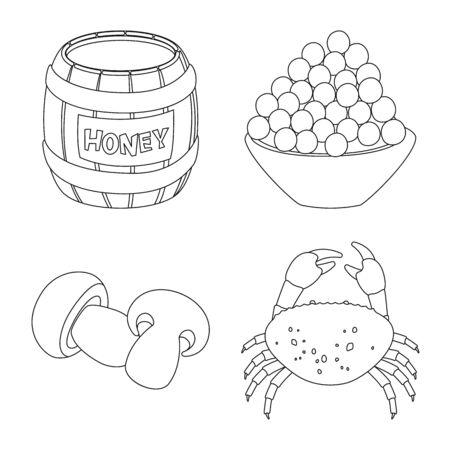 Vector illustration of seasonin and ingredient icon. Set of seasonin and aroma stock symbol for web.