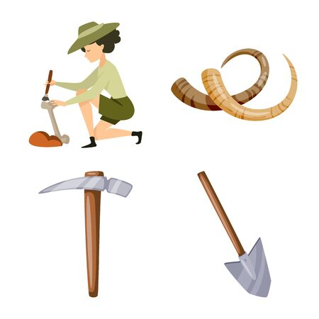 Vector illustration of archaeology and historical symbol. Collection of archaeology and excavation stock symbol for web.