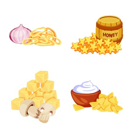 Vector illustration of food and product logo. Collection of food and party stock vector illustration.