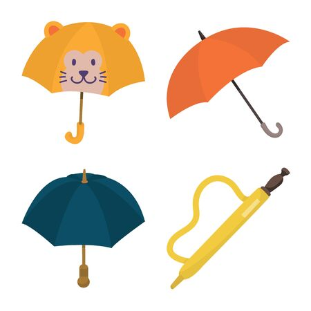 Isolated object of umbrella and rain icon. Set of umbrella and weather vector icon for stock.