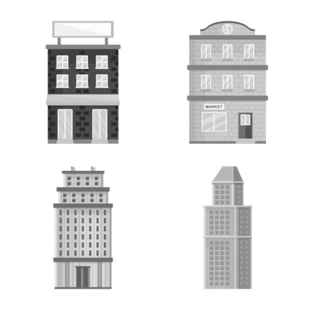 Vector illustration of construction and city  . Set of construction and center stock symbol for web.