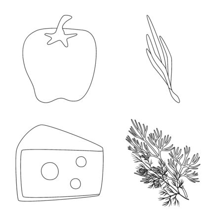 Vector illustration of seasonin and ingredient sign. Set of seasonin and aroma stock vector illustration.