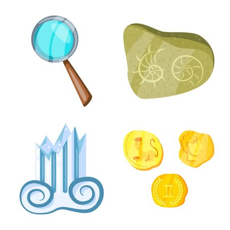 Vector design of archaeology and historical symbol. Set of archaeology and excavation stock symbol for web. Ilustração