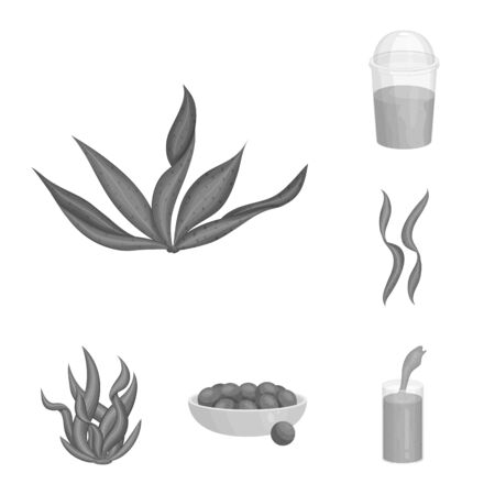 Vector design of plant and weed symbol. Set of plant and sea stock symbol for web.