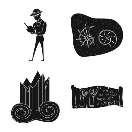 Vector illustration of museum and attributes logo. Collection of museum and historical stock vector illustration.