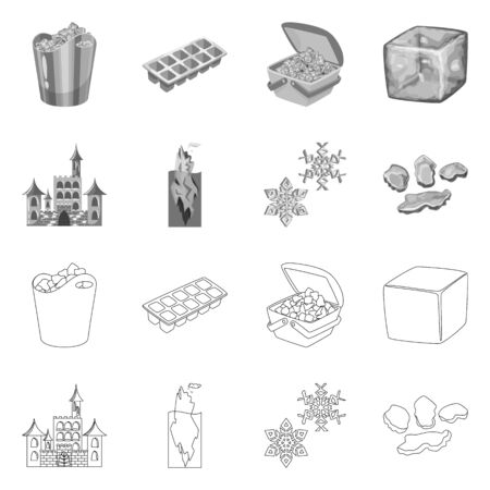 Vector illustration of texture and frozen logo. Collection of texture and transparent stock symbol for web.