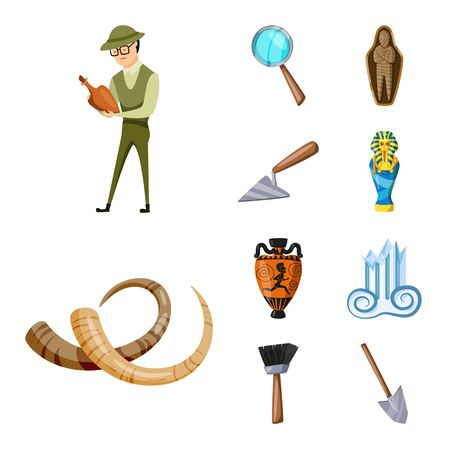 Isolated object of archaeology and historical sign. Set of archaeology and excavation stock vector illustration. Vectores
