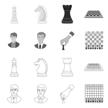 Vector design of checkmate and thin symbol. Collection of checkmate and target stock vector illustration.