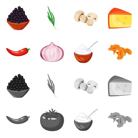 Isolated object of taste and product icon. Collection of taste and cooking vector icon for stock.