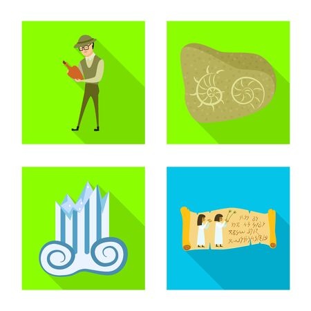 Vector design of story and items logo. Set of story and attributes stock vector illustration. Vectores