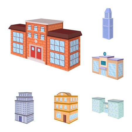 Vector illustration of city and build sign. Collection of city and apartment vector icon for stock.