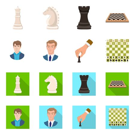 Vector design of checkmate and thin icon. Set of checkmate and target stock symbol for web. Illustration