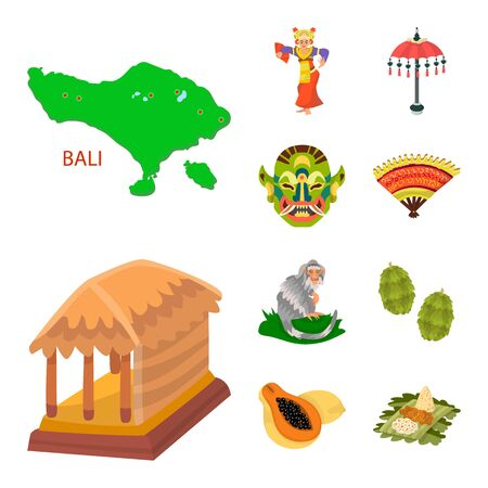 Vector illustration of bali and indonesia icon. Set of bali and caribbean stock vector illustration.