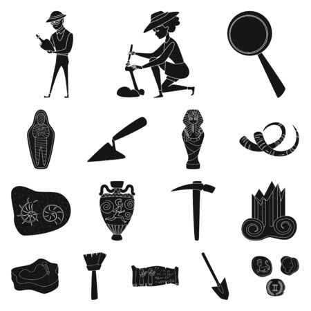 Vector illustration of museum and attributes sign. Set of museum and historical vector icon for stock. Vectores