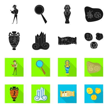 Isolated object of story and items symbol. Collection of story and attributes stock symbol for web.