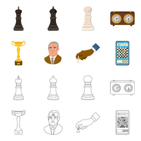 Vector design of checkmate and thin sign. Set of checkmate and target stock vector illustration. 일러스트