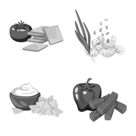 Vector design of taste and cooking symbol. Set of taste and seasonin stock symbol for web. 向量圖像