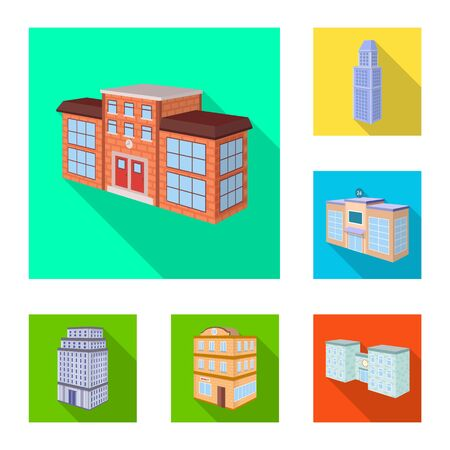 Isolated object of construction and building icon. Set of construction and estate stock symbol for web. 向量圖像