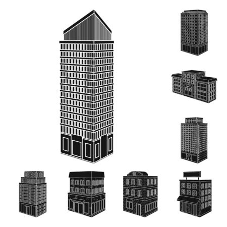 Vector design of architecture and estate sign. Collection of architecture and build vector icon for stock.
