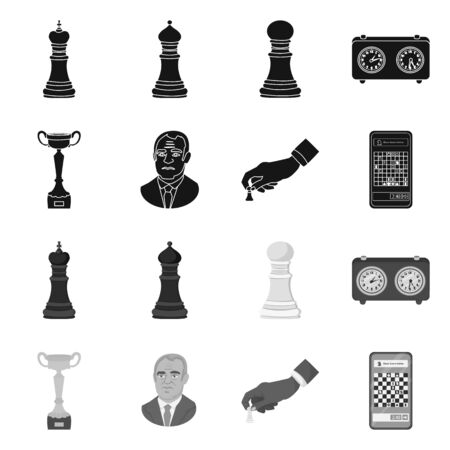 Vector illustration of checkmate and thin sign. Set of checkmate and target stock vector illustration. Vettoriali