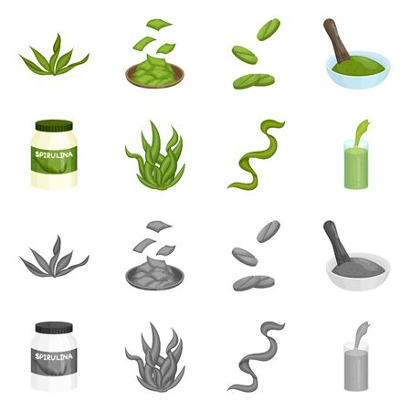 Vector design of protein and sea symbol. Collection of protein and natural vector icon for stock. 向量圖像