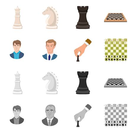Vector illustration of checkmate and thin icon. Set of checkmate and target stock vector illustration.