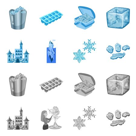 Vector design of texture and frozen logo. Collection of texture and transparent stock symbol for web. 向量圖像