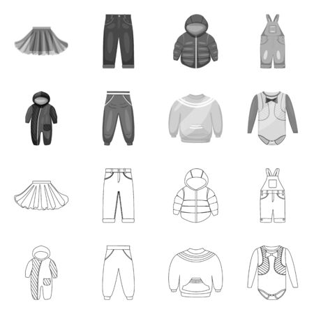 Vector illustration of fashion and garment icon. Set of fashion and cotton stock symbol for web. Stock Illustratie