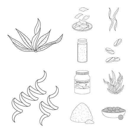 Vector design of food and vegan logo. Collection of food and weed vector icon for stock. 向量圖像