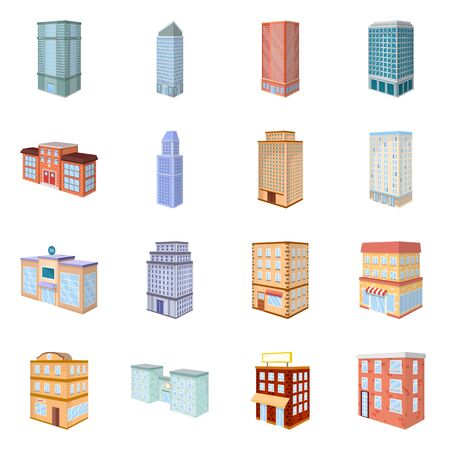 Vector design of city and build icon. Collection of city and apartment vector icon for stock. 向量圖像