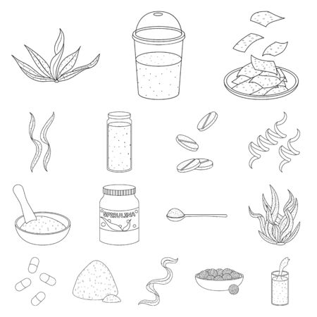 Isolated object of food and vegan sign. Set of food and weed stock vector illustration.