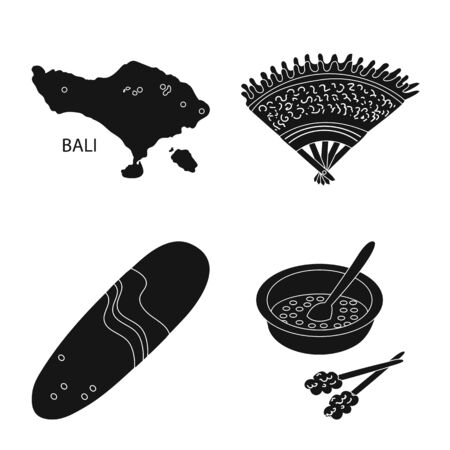 Isolated object of and traditional symbol. Set of and bali stock vector illustration. 向量圖像