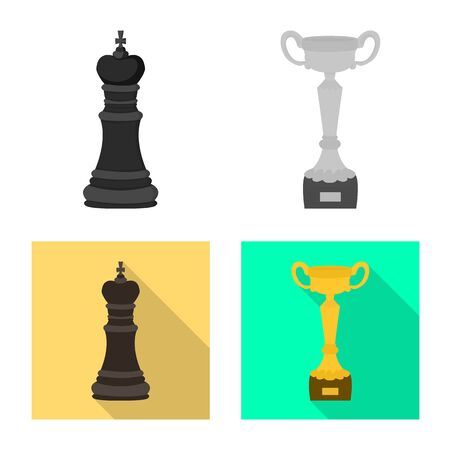 Vector design of checkmate and thin icon. Set of checkmate and target stock symbol for web. 向量圖像
