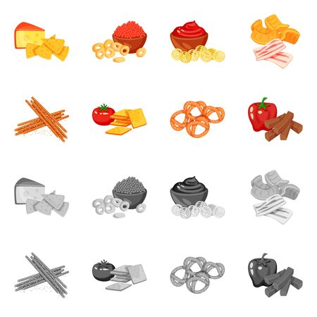 Isolated object of taste and seasonin icon. Collection of taste and organic stock vector illustration.