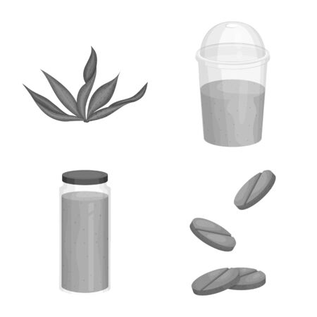 Isolated object of plant and weed sign. Collection of plant and sea stock symbol for web. 向量圖像