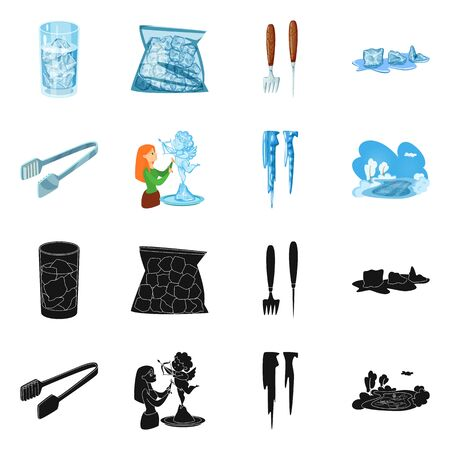 Isolated object of texture and frozen  . Collection of texture and transparent vector icon for stock.