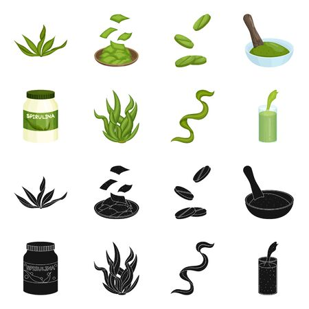 Isolated object of protein and sea symbol. Set of protein and natural stock vector illustration. 向量圖像